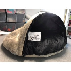 Suède aspect vieux cuir Sable Fourrure Noir